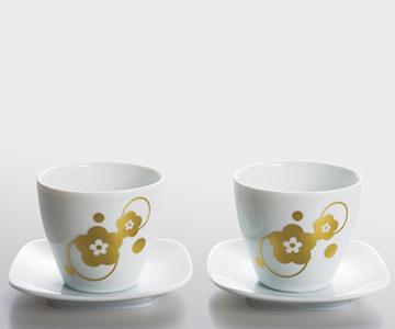 《金箔 箔一》梅moyou カップ&小皿ペアセット