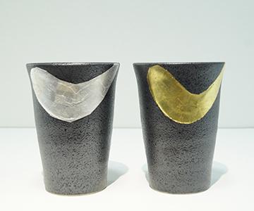 《九谷焼》ペアフリーカップ・金銀彩