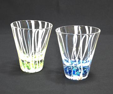 《能登島ガラス》色泡ペアグラス