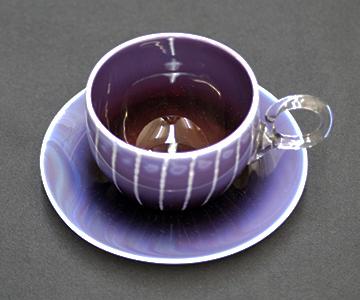 《能登島ガラス》紅茶カップ&ソーサー(パープル)