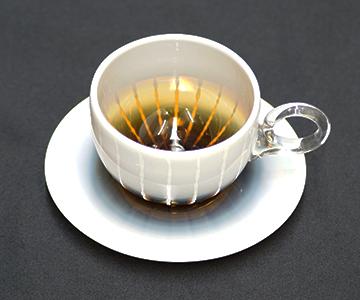 《能登島ガラス》紅茶カップ&ソーサー(アンバー)