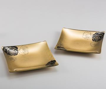 《金箔 箔一》オフリールロゼ ガラスプレートペア